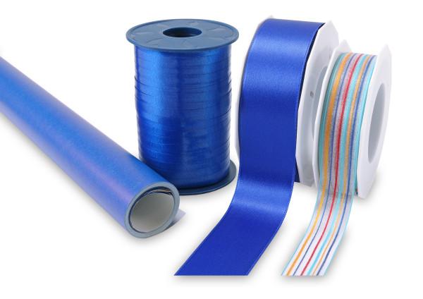 Geschenk-Set blau - Band & Papier, 4 teilig