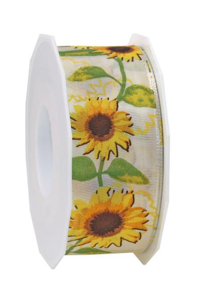 Taftband mit Drahtkante - Sonnenblumen 40 mm x 20 m