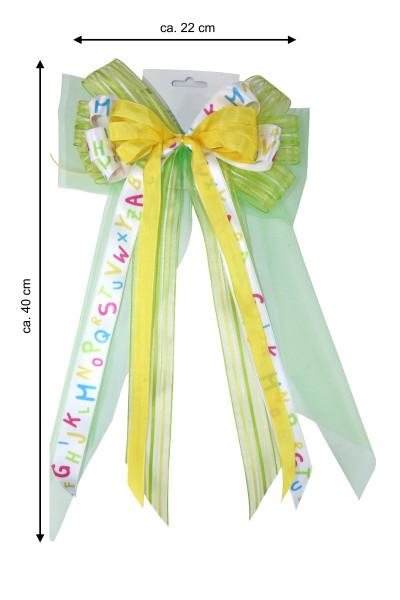 Schultütenschleife grün / ABC 22 cm Breite x 40 cm Länge