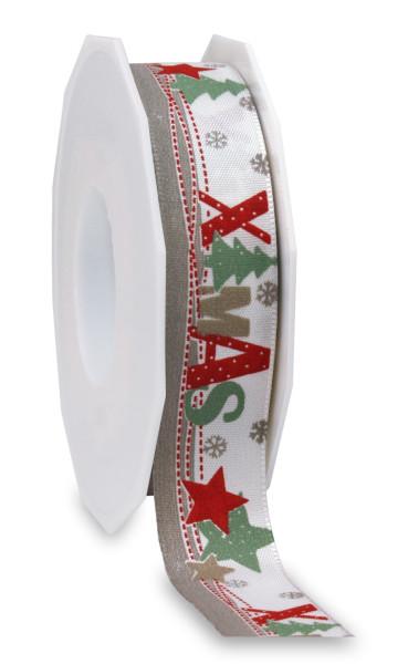 Taftband - Motiv Weihnachten 25 mm x 20 m