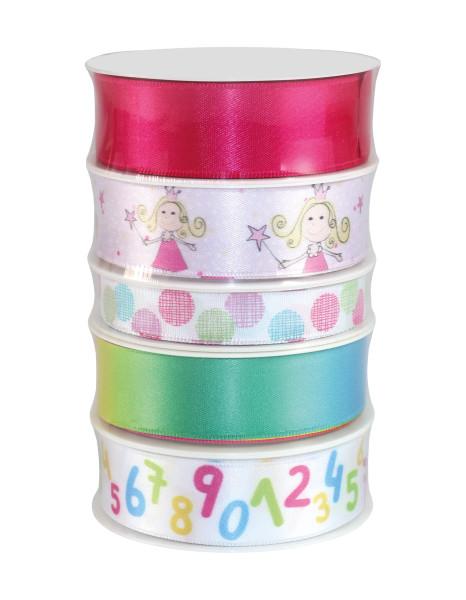 Geschenk- Set Mädchen rosa / bunt 5 x 3 m - 1 x 15 mm; 4 x 25 mm