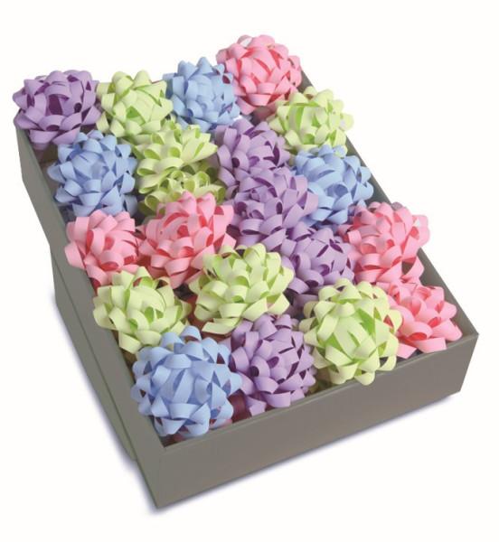 40 selbstklebende Confetti-Schleifen Ø 80 mm