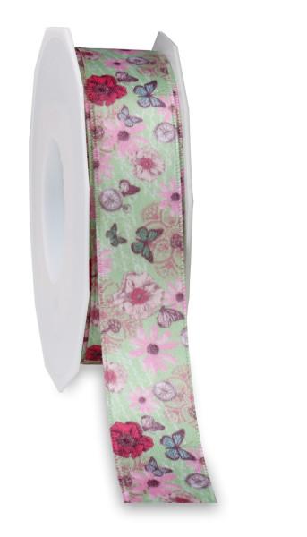 Satinband - Blumen und Schmetterlinge 25 mm x 20 m