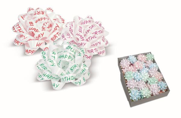 40 selbstklebende Confetti-Schleifen Ø 80 mm Happy Birthday