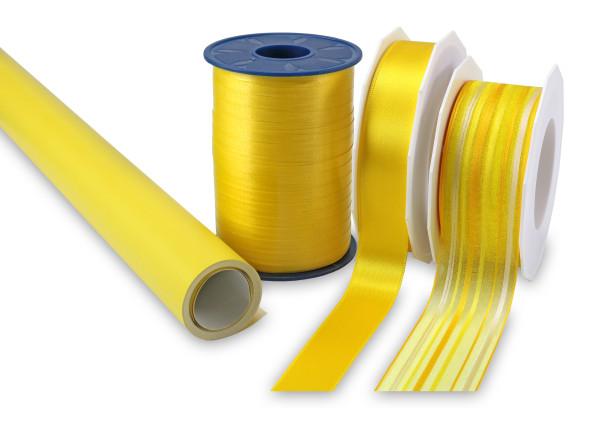 Geschenk-Set gelb - Band & Papier, 4 teilig